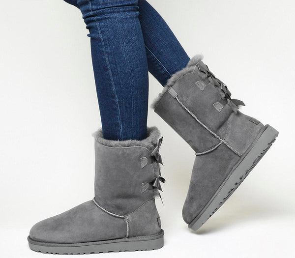 Womens Ugg Bailey Bow Ii Calf Boot Grey Suede Uk Size 5