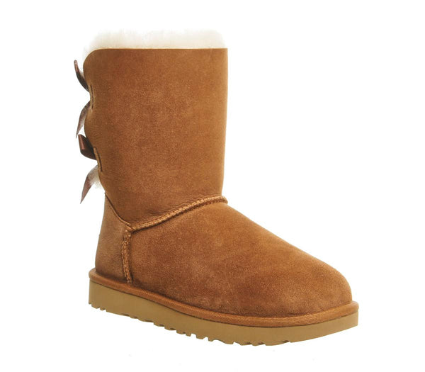 Womens Ugg Bailey Bow II Calf Boot Chestnut Suede