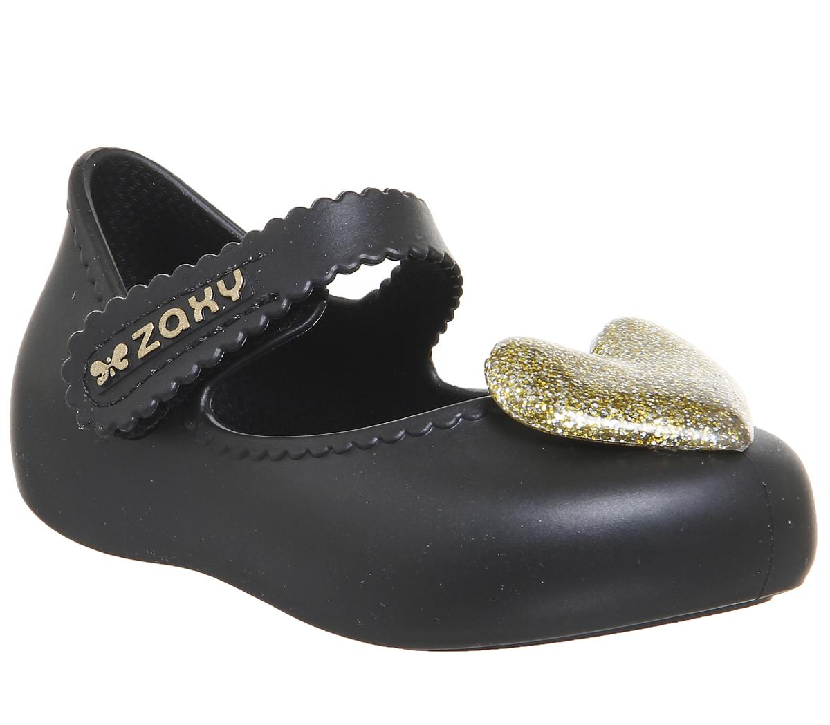 Kids Zaxy Baby Heart Black Gold Glitter