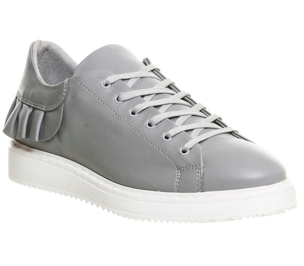 Womens Office Tokyo Frill Sneaker Ash Grey Leather Trainer