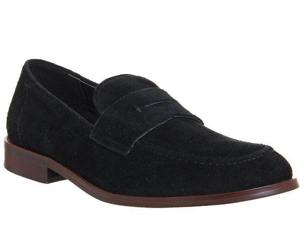 Mens Office Franco Penny Loafer Black Suede Choc Sole