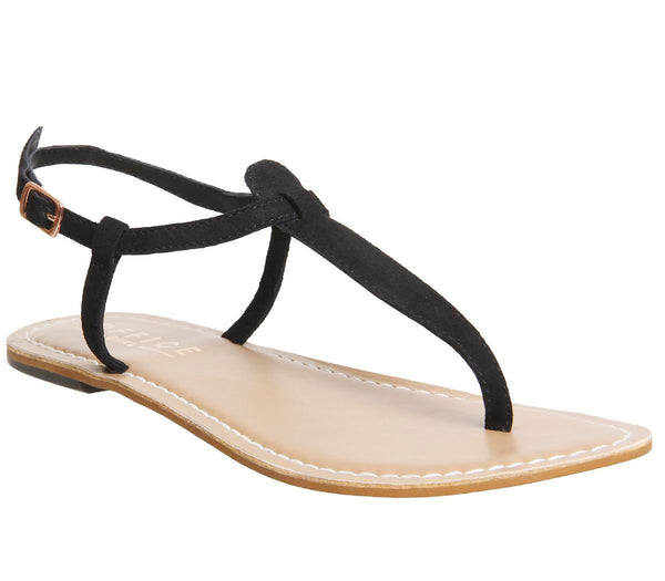 Womens Office Samba Toe Post Sandals Black Suede