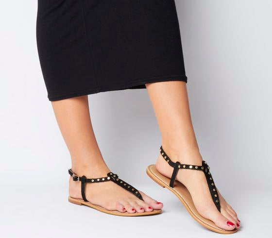 Womens Office Samba Toe Post Sandals Black Cow Hair With Studs