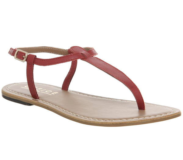 Womens Office Samba Toe Post Sandals Red Leather
