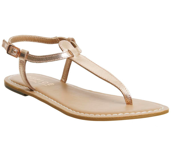 Womens Office Samba Toe Post Sandals Rose Gold Leather