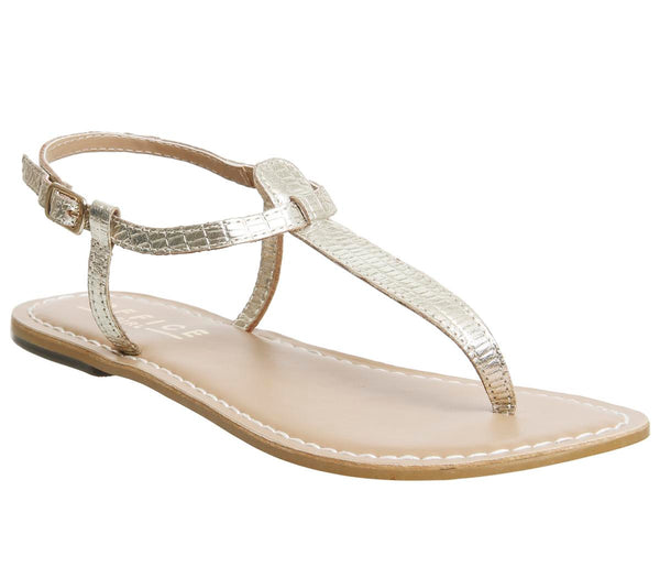 Womens Office Samba Toe Post Sandals Gold Snake Leather