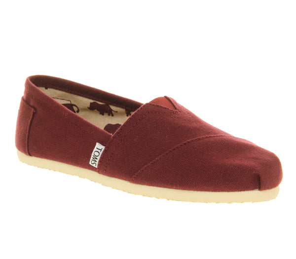 Womens Toms Classic Slip On Wine Canvas Uk Size 9