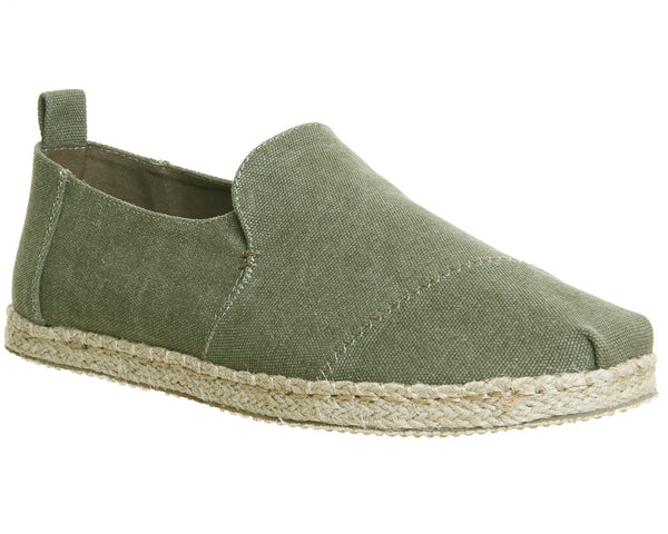 Mens Toms Alpargata Deconstructed Espadrille Olive Washed Canvas Uk Size 10