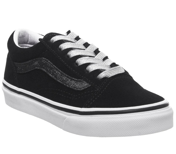 Kids Vans Old Skool Lace K Black True White Glitter Sidestripe