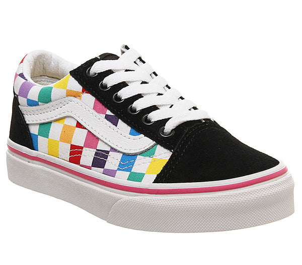 Kids Vans Old Skool Lace K Rainbow True White Checker