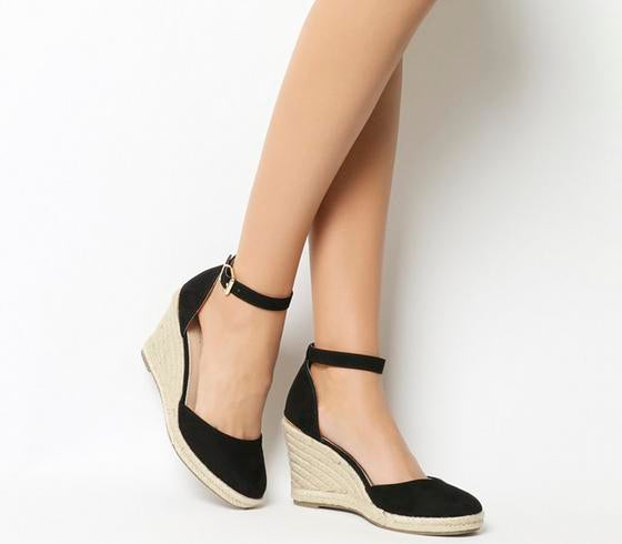 Womens Office Marsha Closed Toe Espadrille Wedge Black With Gold Heel Clip