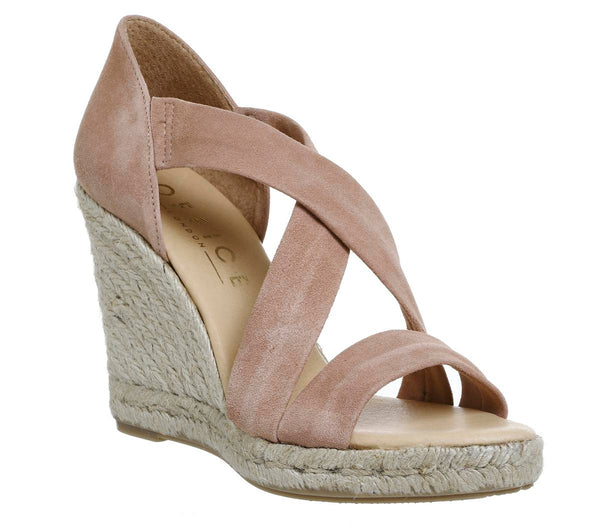 Womens Office Holiday Cross Front Espadrille Wedge Nude Suede