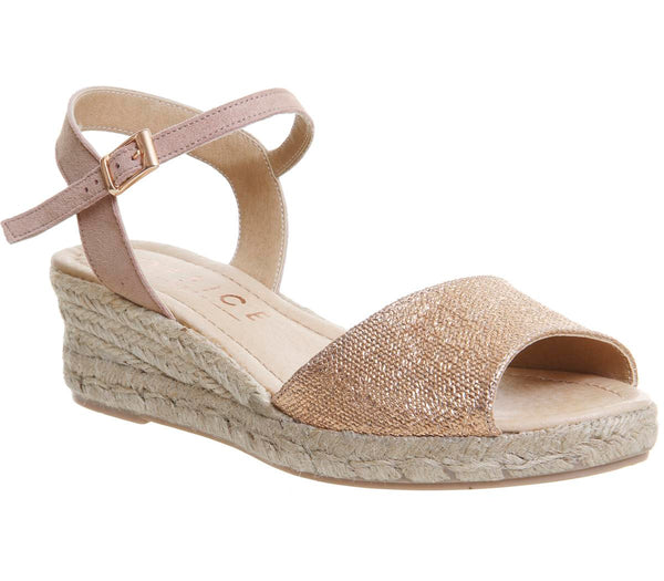 Womens Office Moma Espadrille Sandal Rose Gold Leather