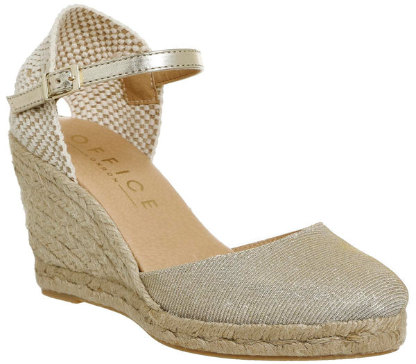 Womens Office Milano Two Part Espadrille Champagne Lurex