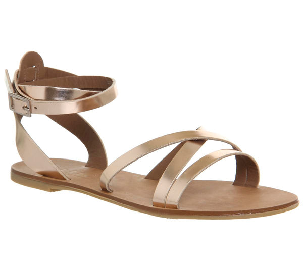 Womens Office Stephan Strappy Ankle Sandals Rose Gold