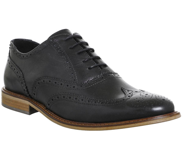 Mens Ask The Missus Friendly Brogue Black Leather