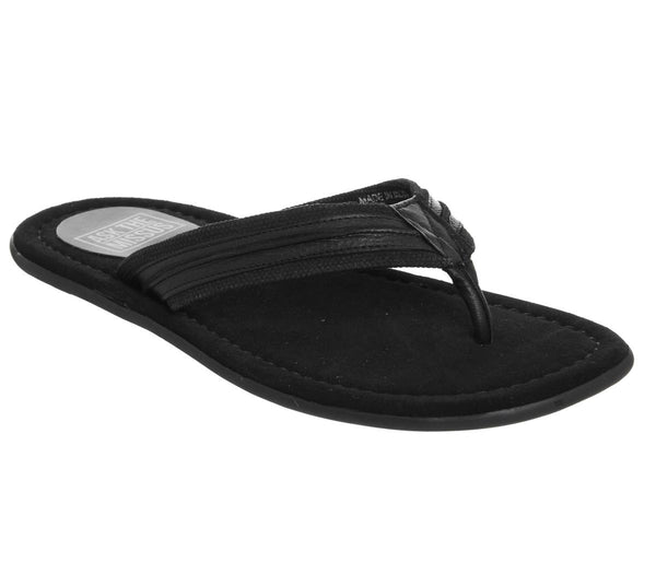 Mens Ask The Missus Floyd Thong Sandal Black Leather