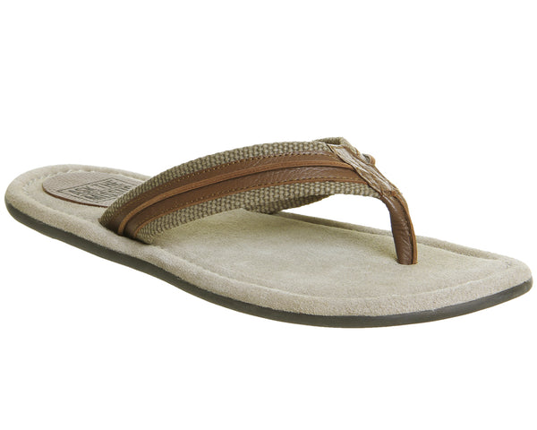 Mens Office Floyd Thong Sandal Beige Suede