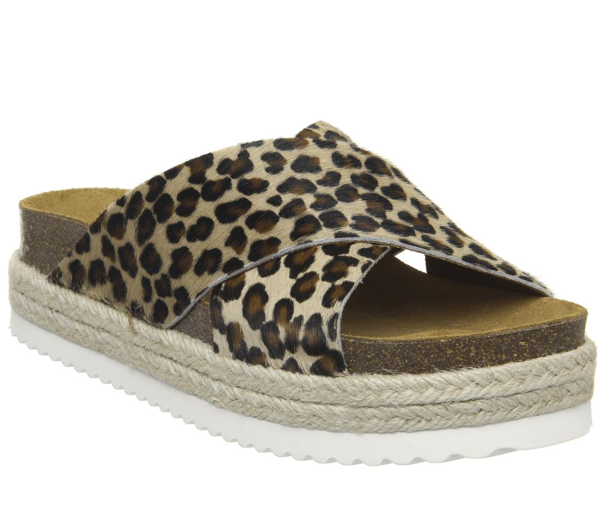 Womens Office Mexico Cross Strap Footbed Leopard