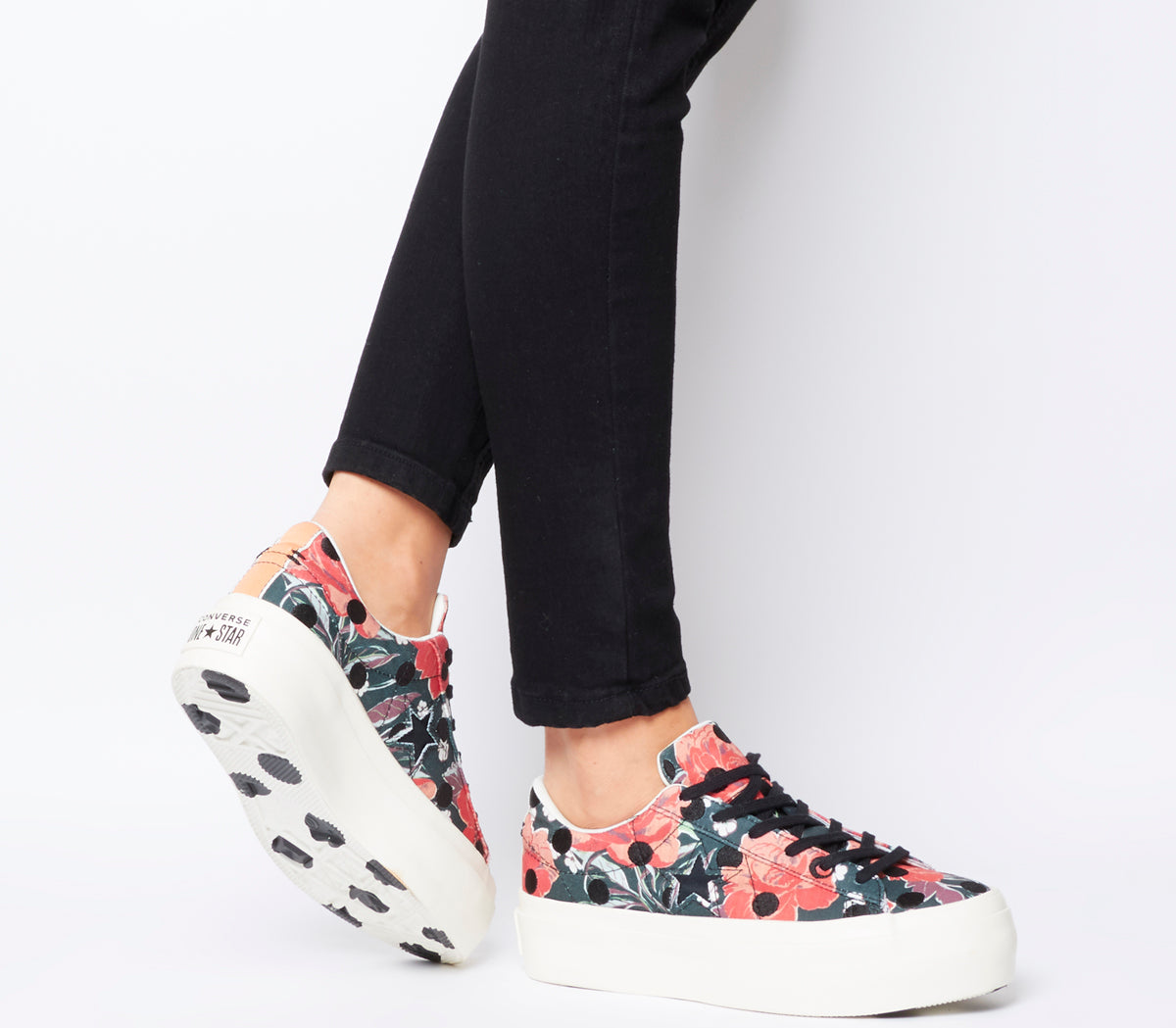 f9f850cec0db Womens Converse One Star Platform Black Nectarine Egret Polka Floral T –  OFFCUTS SHOES by OFFICE