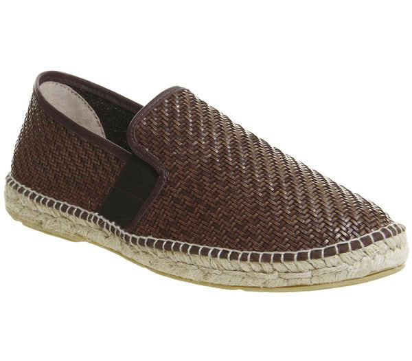 Mens Office Felice Espadrille Brown Woven