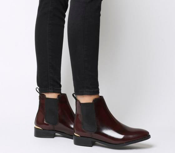 Womens Office Bramble Chelsea Boot Burgundy Box Leather Metal Hardware Uk Size 7