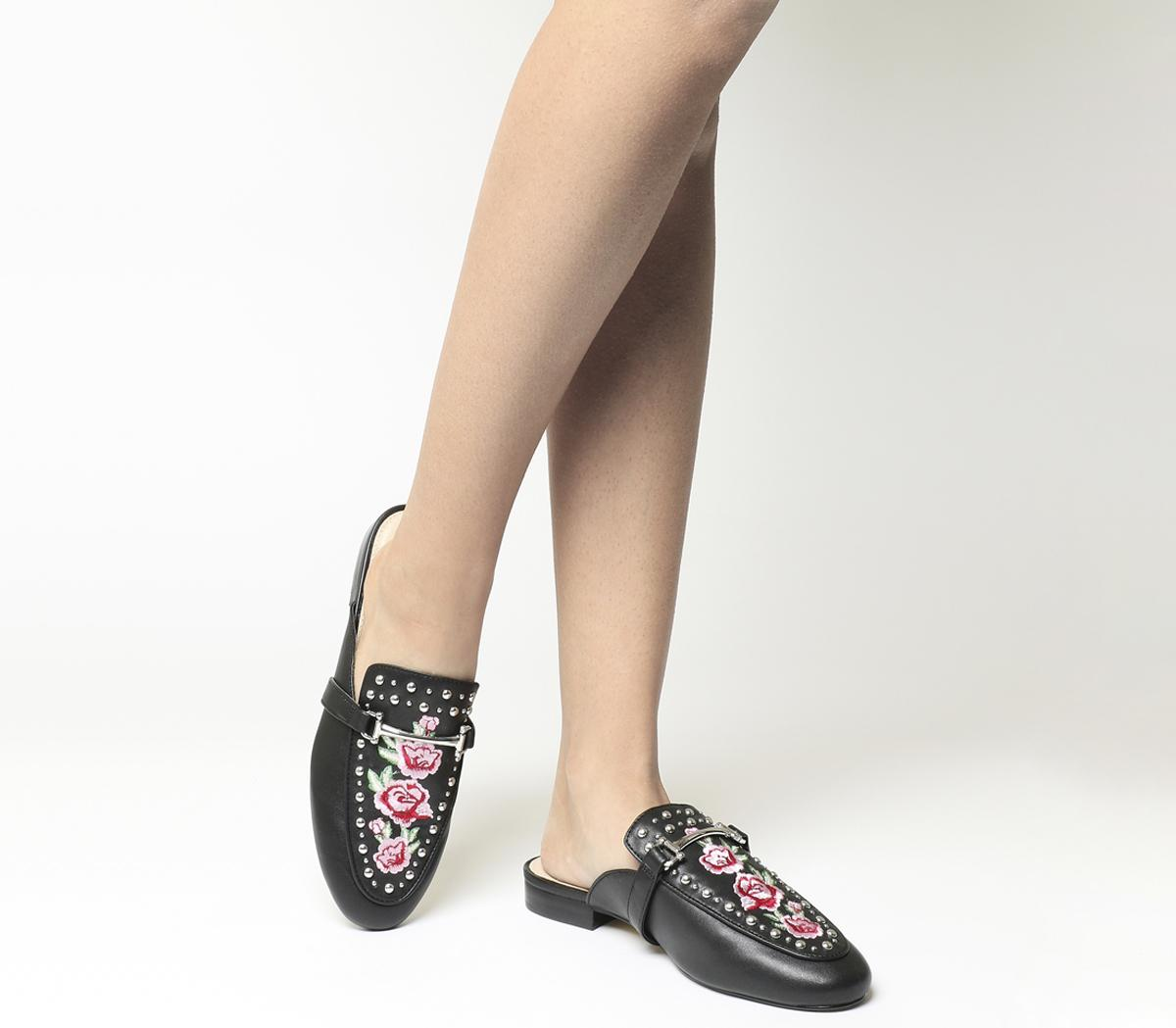 Womens Office Facade Embroidered Stud Mules Black