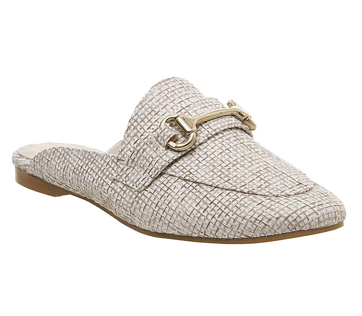 Womens Office Fondness Mule Loafer Off White Raffia