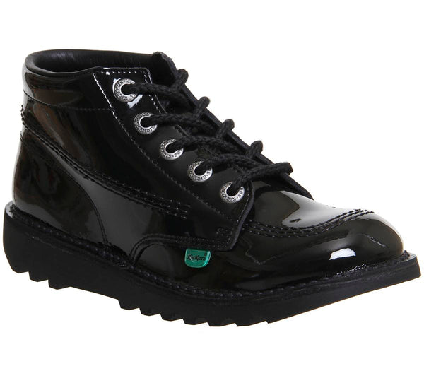 Womens Kickers Kick Hi Junior Black Patent