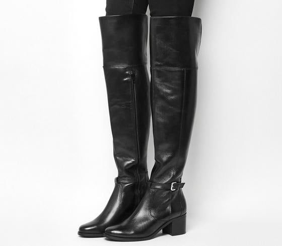 Womens Office Kacey Over The Knee Riding Boot Black Leather Uk Size 7