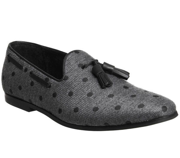 Mens Ask The Missus Grazie Tassel Loafer Grey Polka Dot Uk Size 8