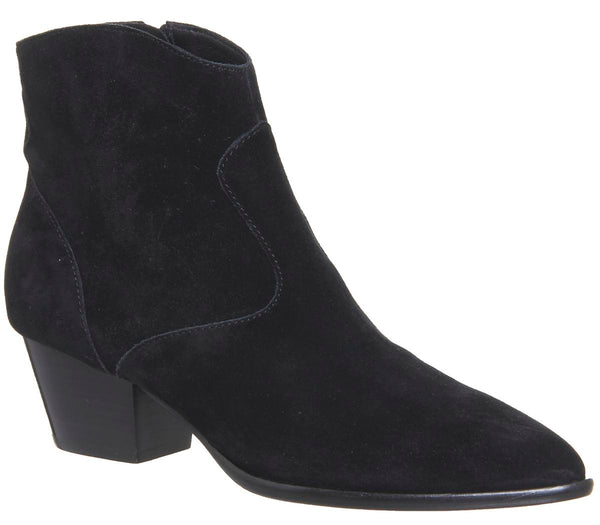 Womens Ash Heidi Bis Ankle Boot Black Soft Suede