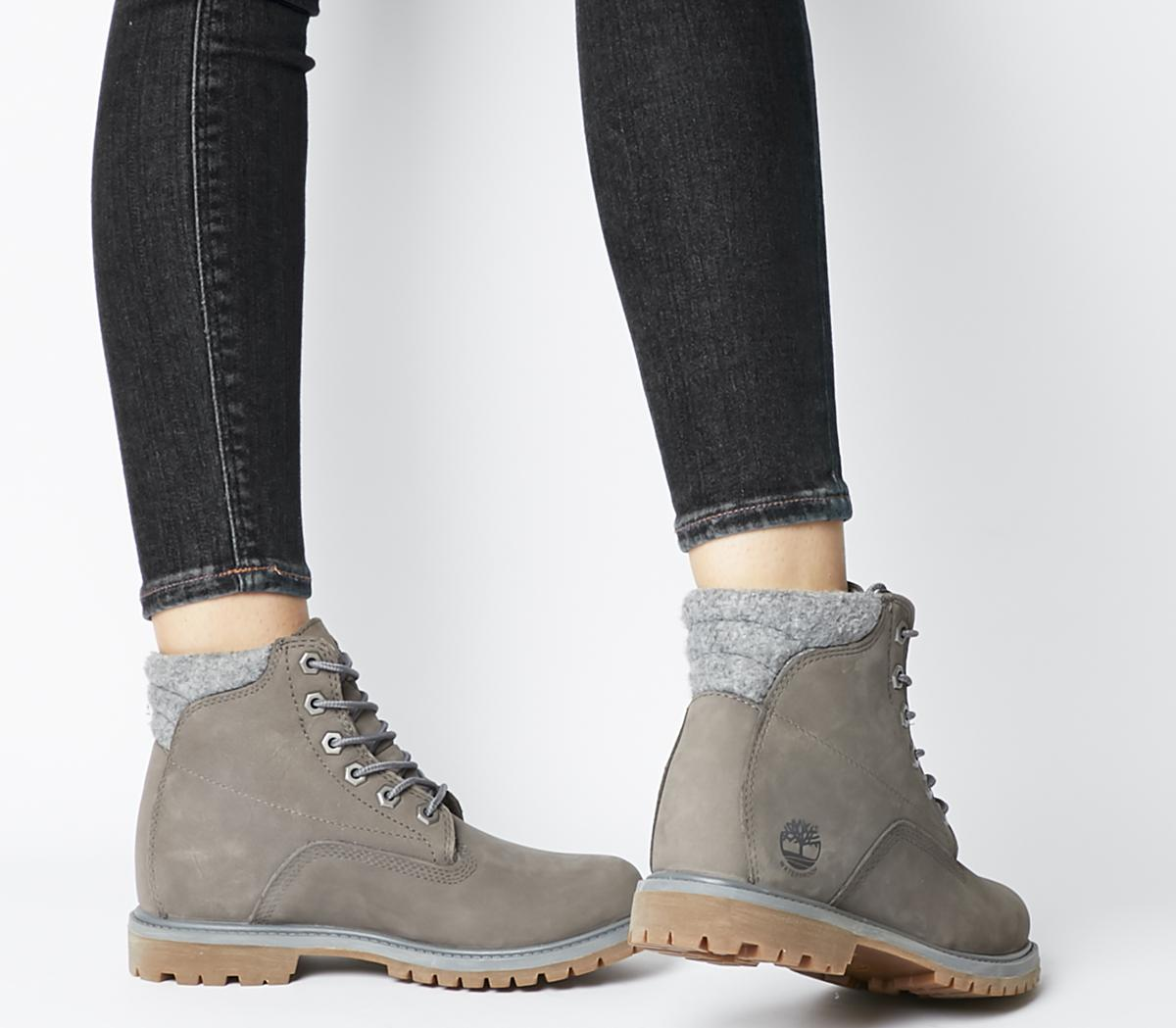 Womens Timberland Wateville 6 Boots Med Grey