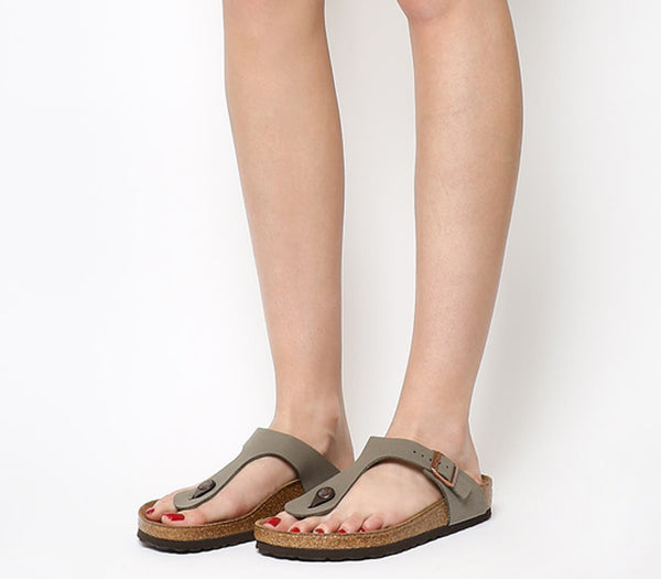 Womens Birkenstock Toe Thong Footbed Stone