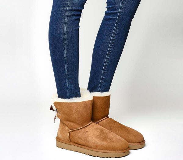 Womens Ugg Mini Bailey Bow Chestnut Suede Uk Size 6.5