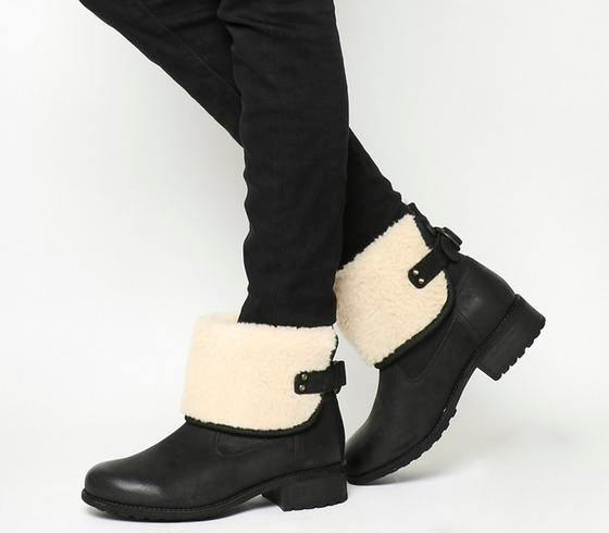 Womens Ugg Aldon Fold Down Black Suede
