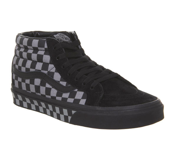 Mens Vans Sk8 Mid Reissue Black Frost Grey Checker