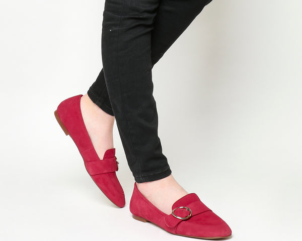 Womens Office Freeway Buckle Loafer Red Suede