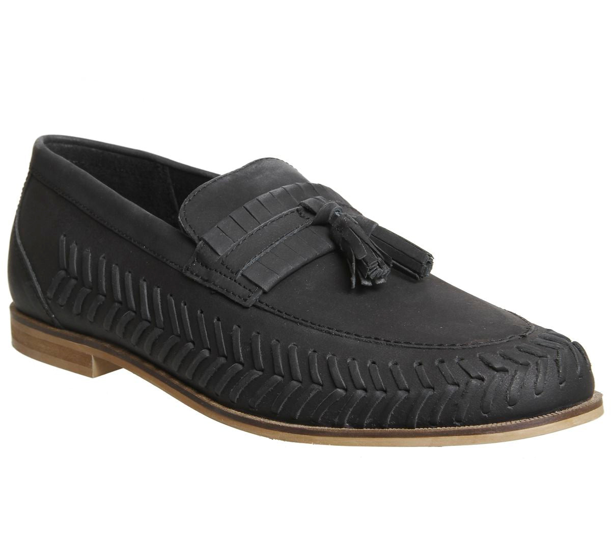 Mens Office Hoxton Woven Loafers Black Washed Leather