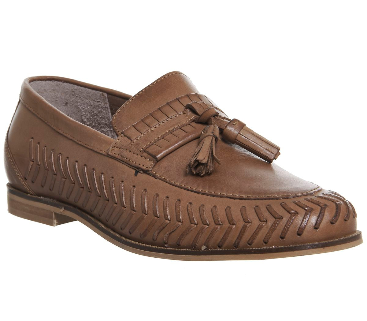 Mens Office Hoxton Woven Loafers Tan Leather
