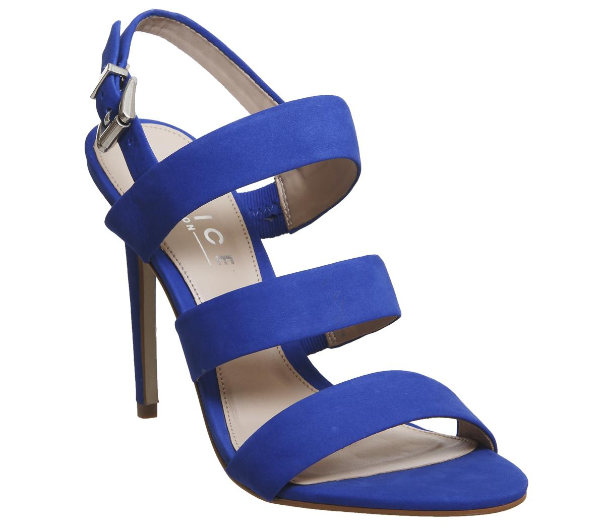Womens Office Havana Three Strap Heeled Sandal Blue Nubuck