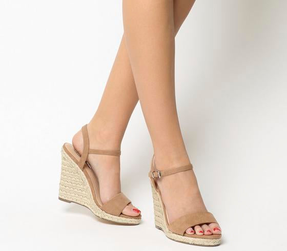 Womens Office Honolulu 2 Part Dressy Espadrille Wedge Nude