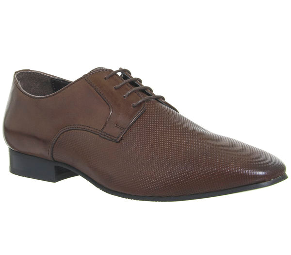 Mens Office Hardwork Derby Shoes Brown Leather