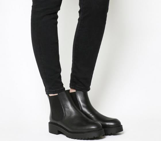 Womens Office Angus Cleated Chelsea Boot Black Leather