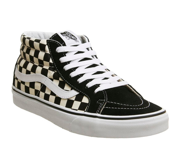 Mens Vans Sk8 Mid Black White Checker