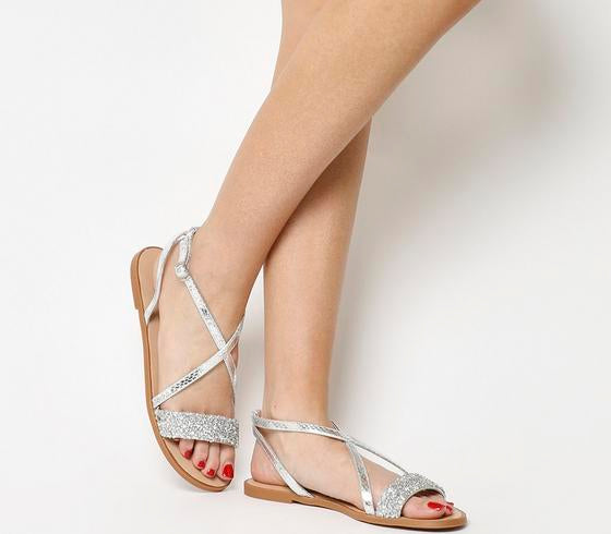 Womens Office Starlight Embellished Strappy Sandal Silver