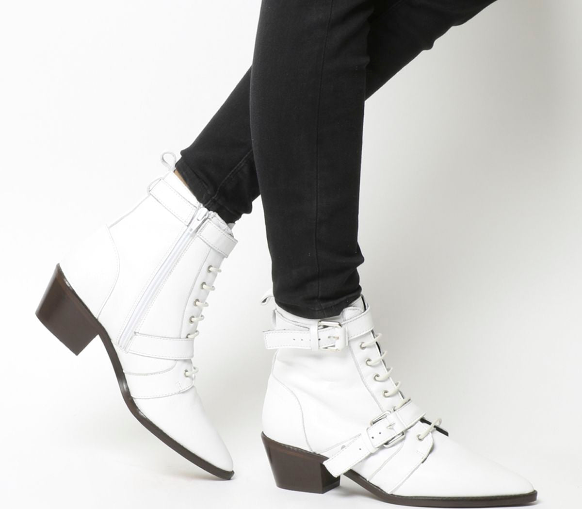 Womens Office Ambassador Lace Up Boot Off White Leather