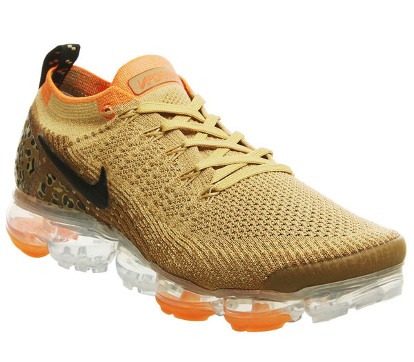 Mens Nike Air Vapormax Flyknit 2 Safari Leopard Club Gold Black Golden Beige Total