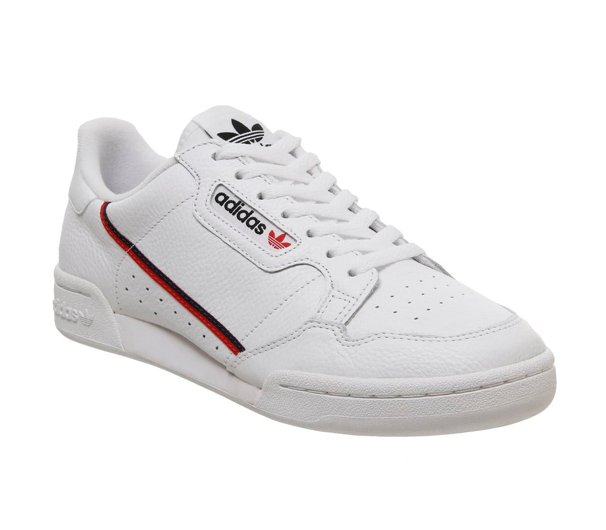 Mens Adidas Continental 80 S White White Scarlet Navy
