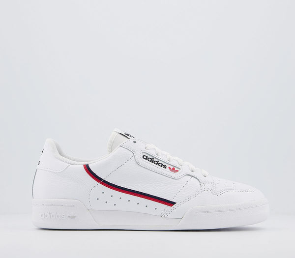 Odd sizes - Mens Adidas Continental 80 S White White Scarlet Navy Trainers UK Sizes R10/L9